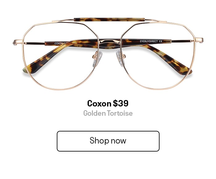 A pair of gold and tortoise aviator style eyeglasses
