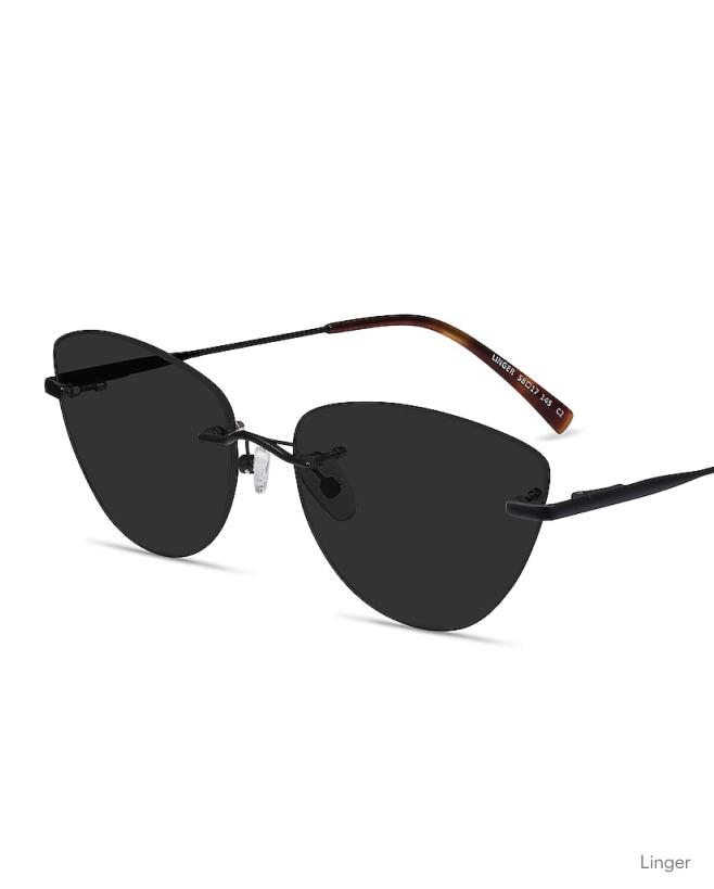 A pair of rimless, cat eye sunglasses