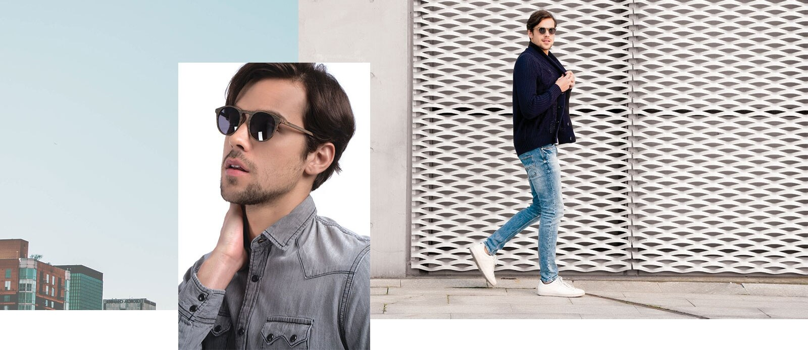 Man wearing Air sunglasses outside