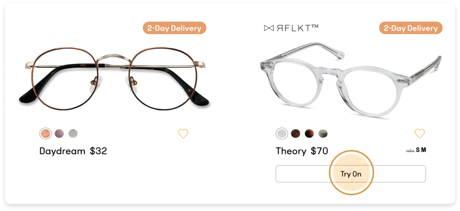 An eyeglasses frame with the virtual try-on button