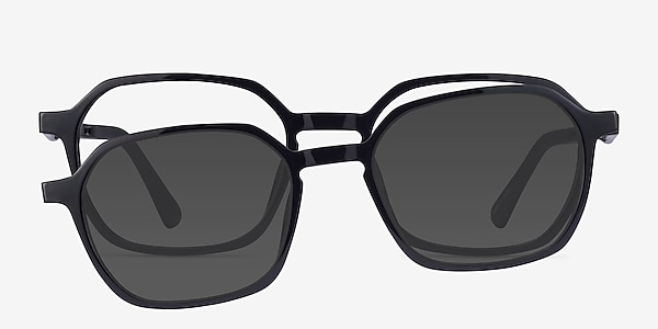 Paseo Clip-On Black Plastic Eyeglass Frames