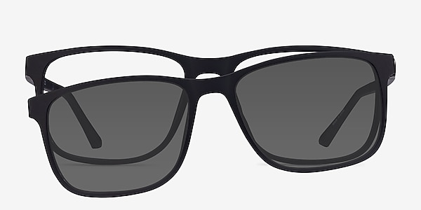 Impetus Clip-On Black Plastic Eyeglass Frames