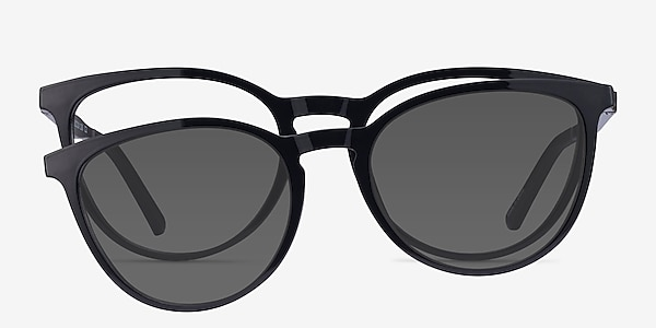 Patio Clip-On Black Plastic Eyeglass Frames