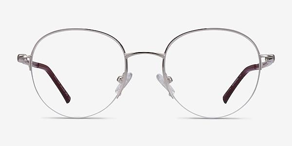 Written Silver Red Metal Eyeglass Frames