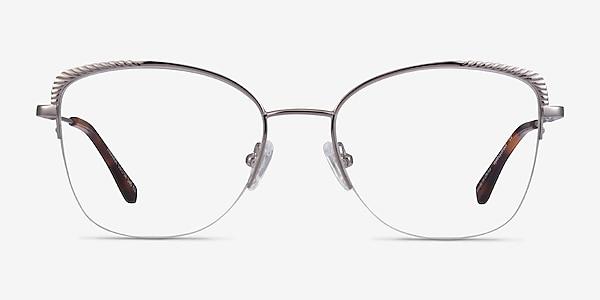 Amande Silver Metal Eyeglass Frames