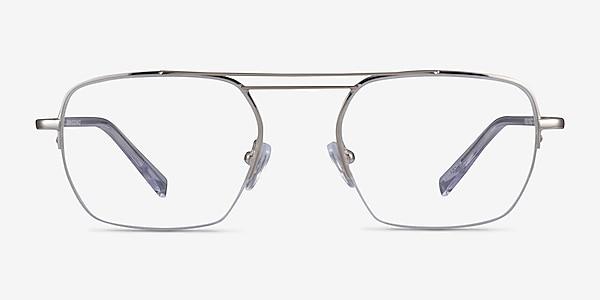 Cabrini Silver Clear Métal Montures de lunettes de vue