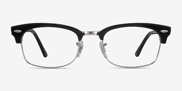 Ray-Ban Clubmaster Square Black & Silver Acetate Eyeglass Frames