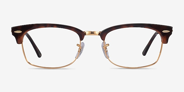 Ray-Ban Clubmaster Square Tortoise & Gold Acetate Eyeglass Frames