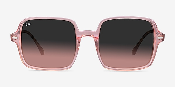 Ray-Ban Square II Transparent Pink Acetate Sunglass Frames