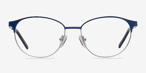 Mamba Navy Silver Metal Eyeglass Frames