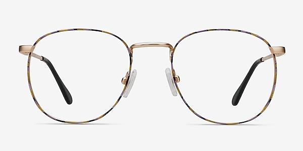 Blossom Floral Golden Metal Eyeglass Frames