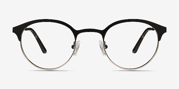Fixate Black Golden Metal Eyeglass Frames