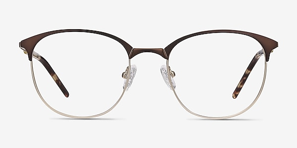 Perceive Brown Golden Metal Eyeglass Frames