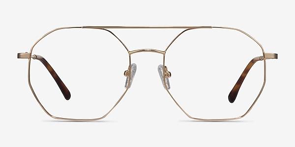 Eight Golden Metal Eyeglass Frames