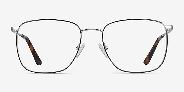 Reason Black Silver Metal Eyeglass Frames
