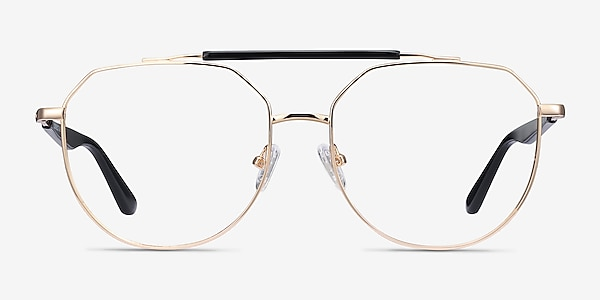 Coxon Golden Black Metal Eyeglass Frames