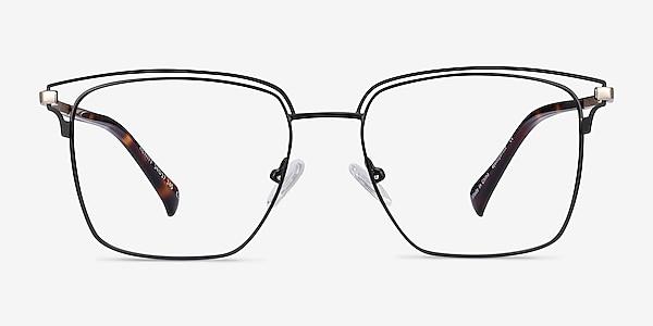 Hewitt Black Gold Metal Eyeglass Frames