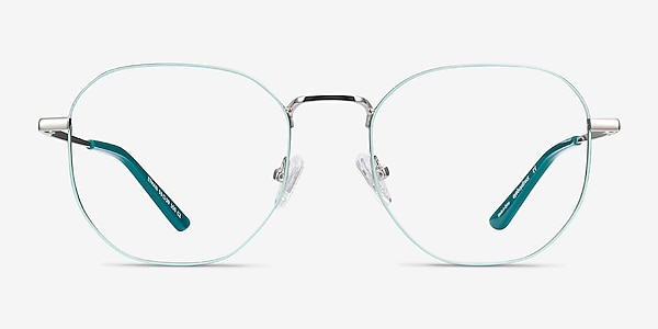 Ethan Mint & Silver Metal Eyeglass Frames