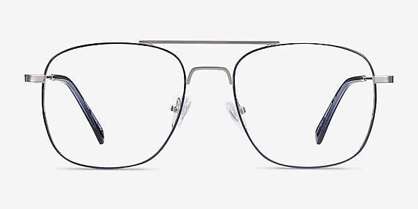 Perry Blue & Silver Metal Eyeglass Frames