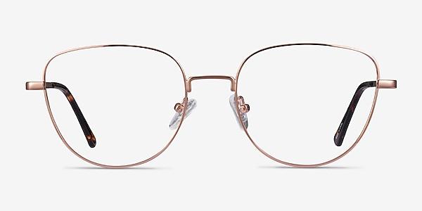 Clotilde Shiny Rose Gold Metal Eyeglass Frames