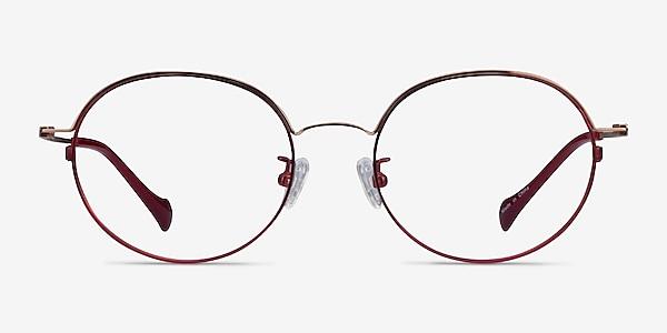 Patel Burgundy  Rose Gold Metal Eyeglass Frames