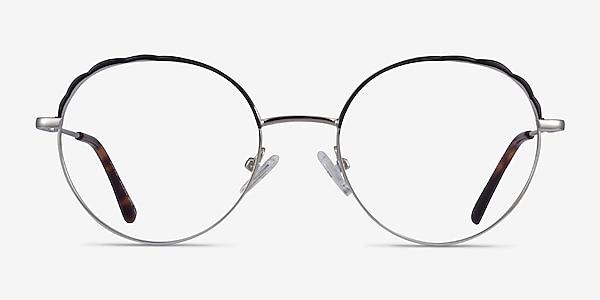 Cloud Silver Black Metal Eyeglass Frames