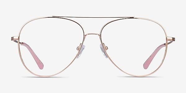 Aesthetic Rose Gold Métal Montures de lunettes de vue