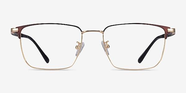 Abroad Brown Gold Métal Montures de lunettes de vue
