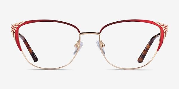 Ines Burgundy Gold Metal Eyeglass Frames
