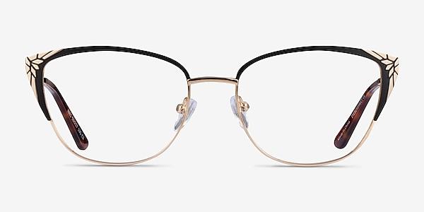 Ines Black Gold Metal Eyeglass Frames