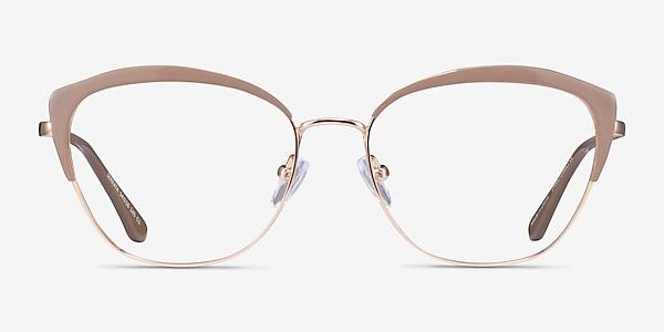 Serrata Light Brown Gold Métal Montures de lunettes de vue