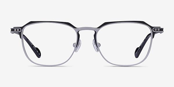Winslow Matte Silver Black Metal Eyeglass Frames
