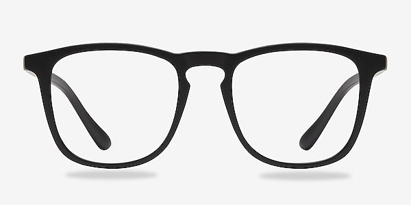 Central Matte Black Plastic Eyeglass Frames