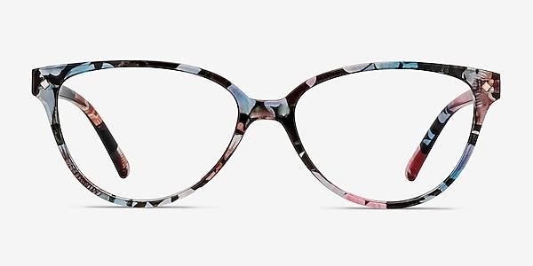 Dame Pink Floral Plastique Montures de lunettes de vue