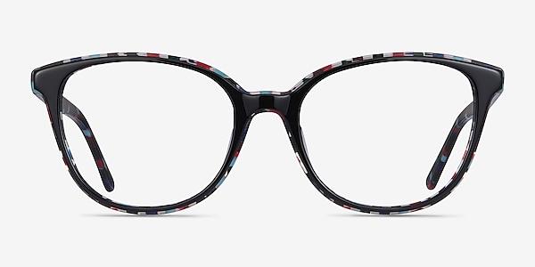 Pixels Black Floral Acetate Eyeglass Frames