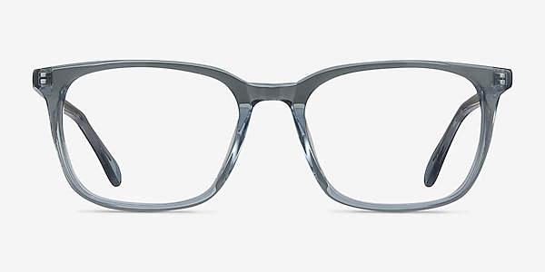 Etched Clear Blue Acetate Eyeglass Frames