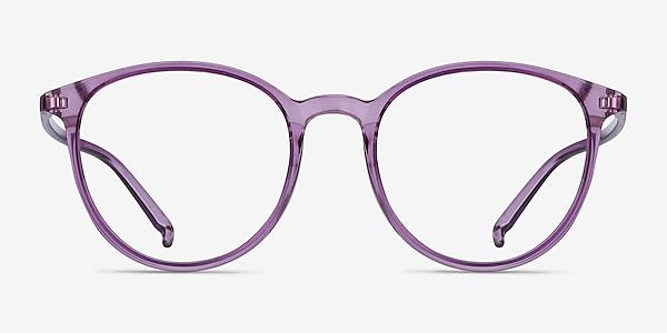 Macaron Clear Purple Plastique Montures de lunettes de vue