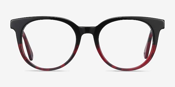 Rialto Black Red Acetate Eyeglass Frames