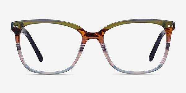 North Green Striped Acétate Montures de lunettes de vue