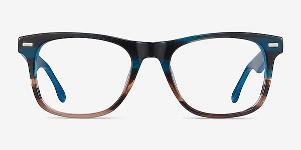 Caster Blue Striped Acetate Eyeglass Frames