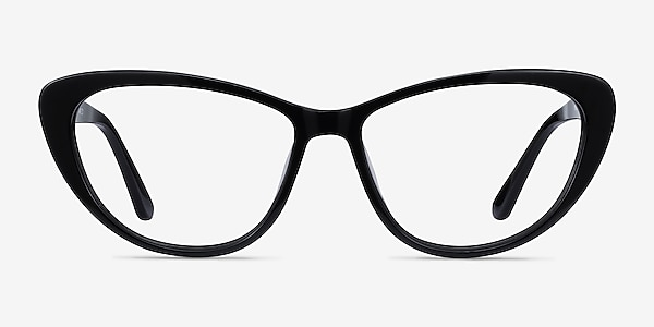 Yvonne Black Acetate Eyeglass Frames