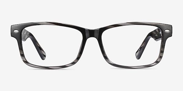 Persisto Black Striped Plastic Eyeglass Frames