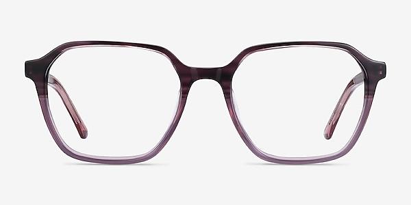 Glib Purple Striped Acétate Montures de lunettes de vue