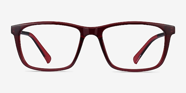 Brad Clear Red Black Plastic Eyeglass Frames