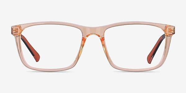 Brad Clear Orange Black Plastic Eyeglass Frames