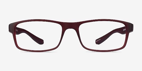 Over Dark Red Plastic Eyeglass Frames