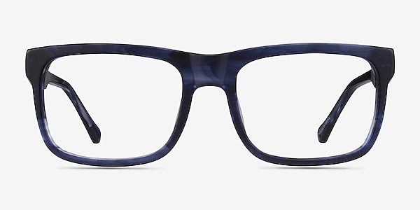 Ylem Matte Blue Striped Acétate Montures de lunettes de vue