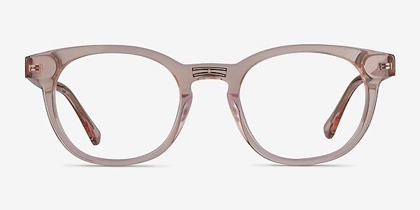 Hoop Clear Pink Gold Acétate Montures de lunettes de vue