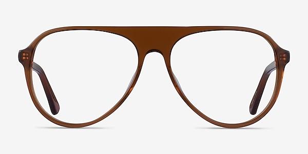 Percussive Clear Brown Acetate Eyeglass Frames