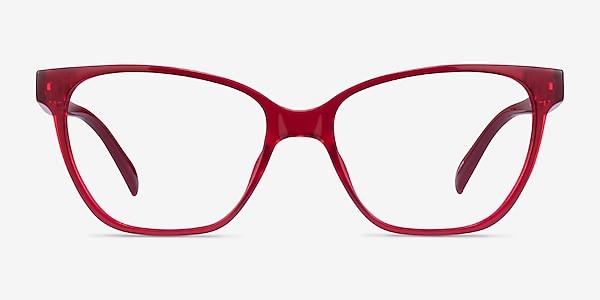 Almond Clear Red Plastic Eyeglass Frames